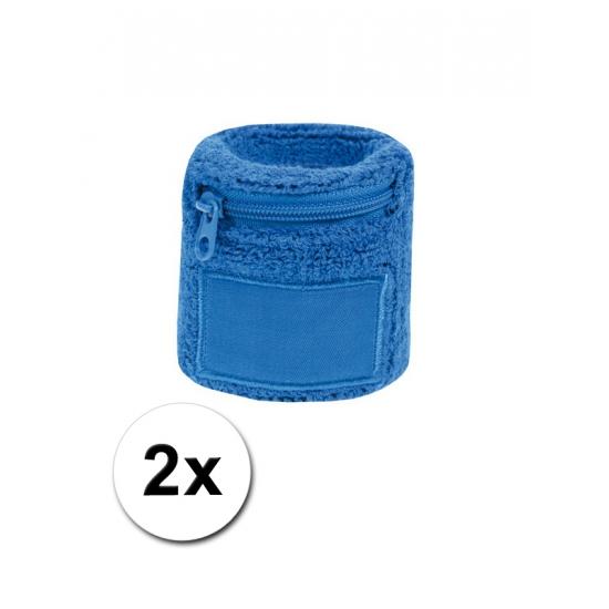 2x Zweetbanden met rits blauw