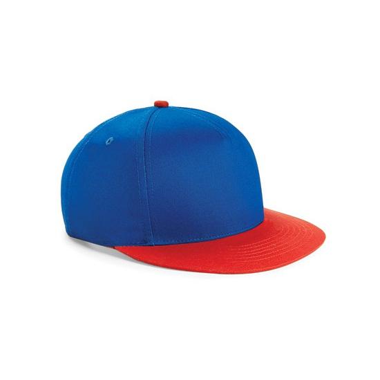 Beechfield kindercap kobalt blauw/rood