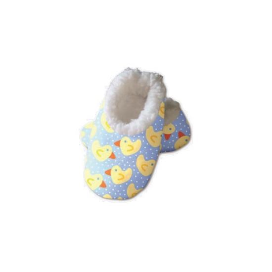 Blauwe baby slofjes met eendjes