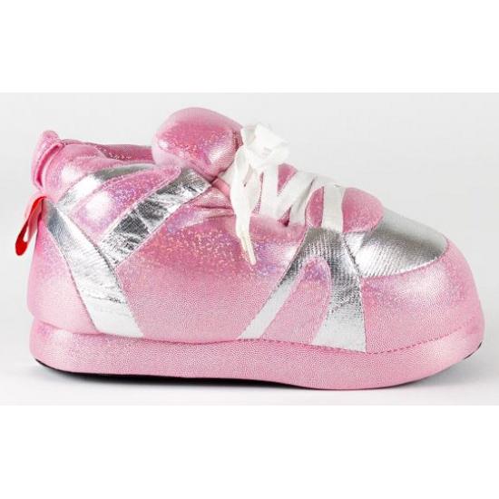 Dames sportschoen sloffen in roze/zilver
