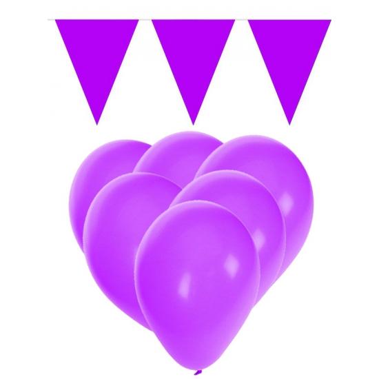 Decoratie paarse 15 ballonnen met 2 vlaggenlijnen