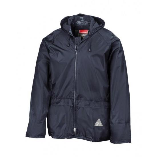 Donkerblauwe waterdichte jas en broek voor volwassenen