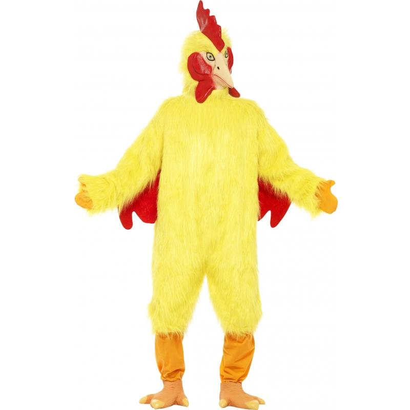 Gele kippen oufit voor volwassenen