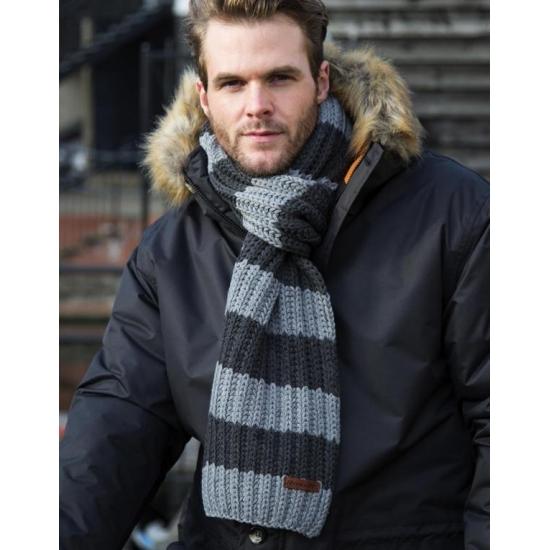 Grijs/Blauwe gebreide winter sjaal