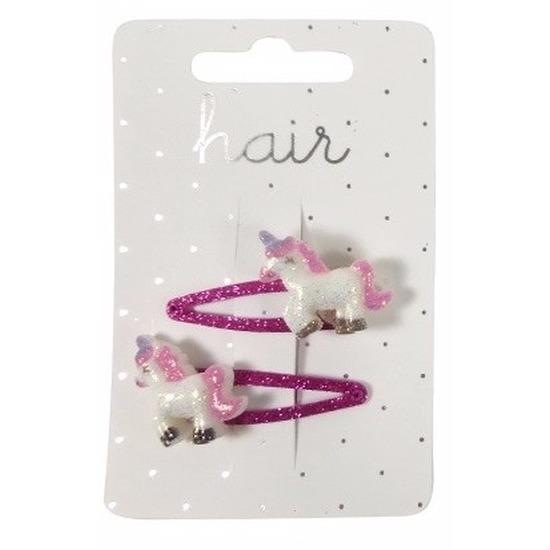 Haarspelden fuchsia met glitters eenhoorn