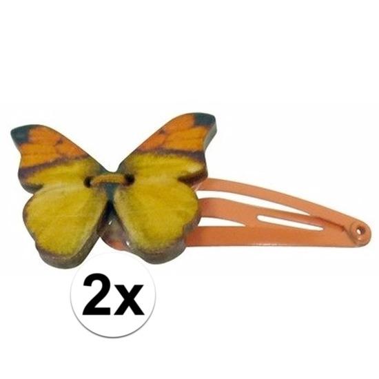 Haarspelden oranje met houten vlinder