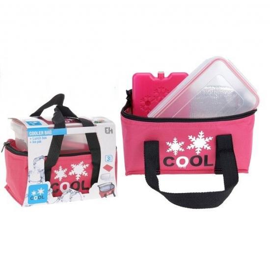 Handige roze koeltas set