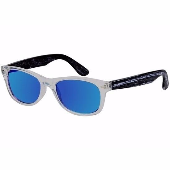 Houten dames zonnebril met blauwe glazen