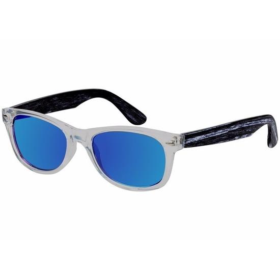 Houten heren zonnebril met blauwe glazen