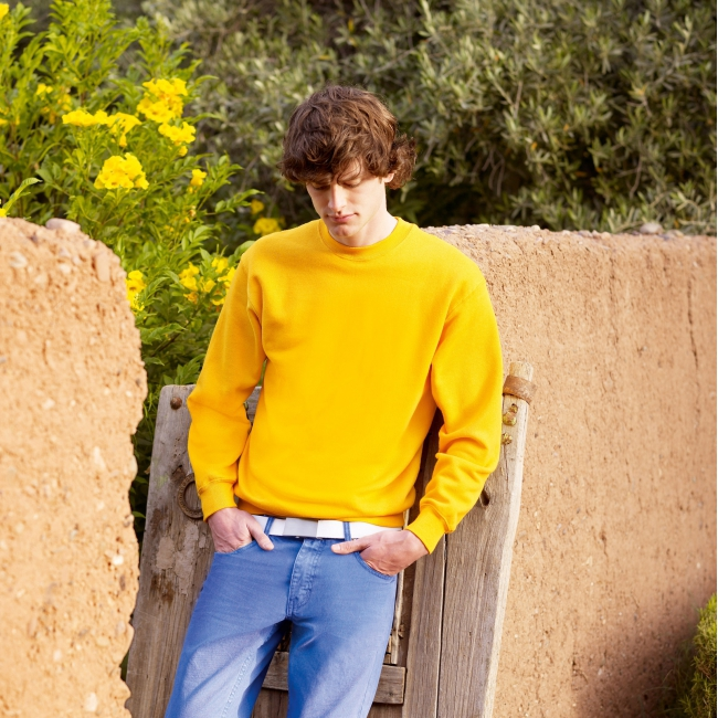 Kleding Fruit of the Loom sweater geel