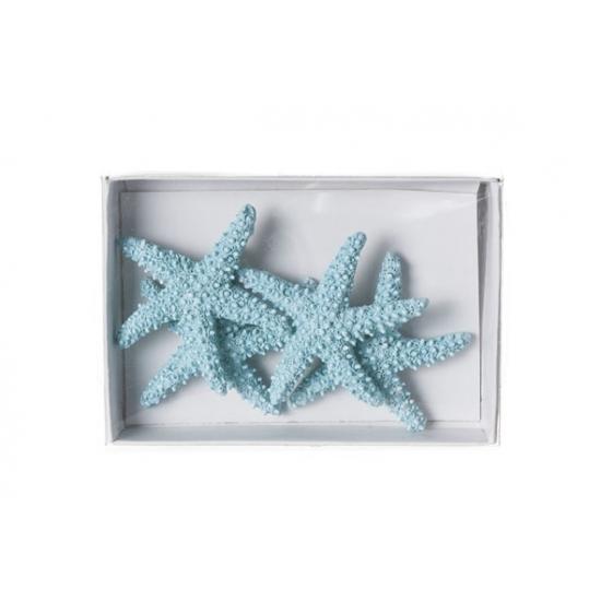 Lichtblauwe zeesterren decoratie 4st van 4,5cm