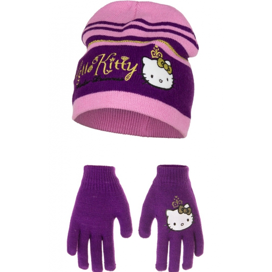 Paarse Hello Kitty winterset