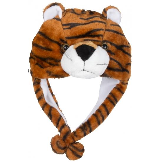 Pluche tijger kindermuts met flapjes