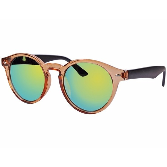 Ronde Clubmaster zonnebril bruin model 7002