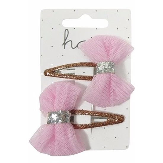 Roze meiden haarclips met glitter strikjes
