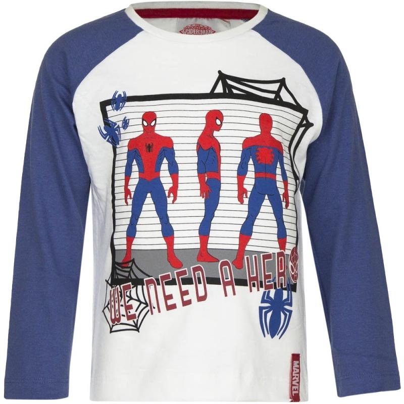 Spiderman shirt lange mouw wit/blauw voor jongens