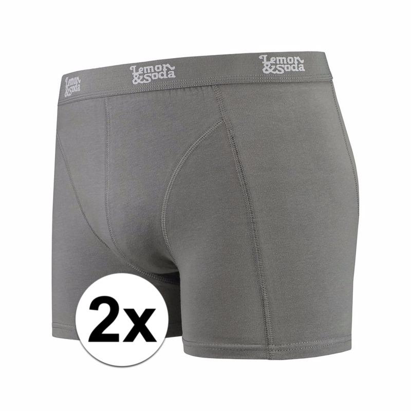 Stretch boxershorts grijs Lemon and Soda 2 x voor heren