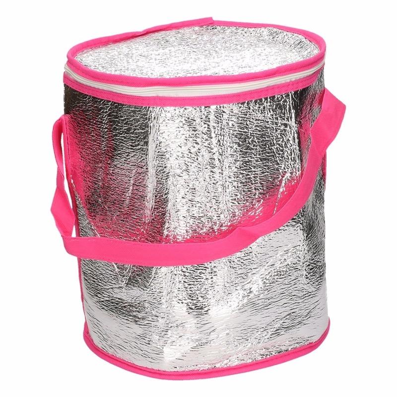 Tonvormige koeltassen aluminium roze 26 cm