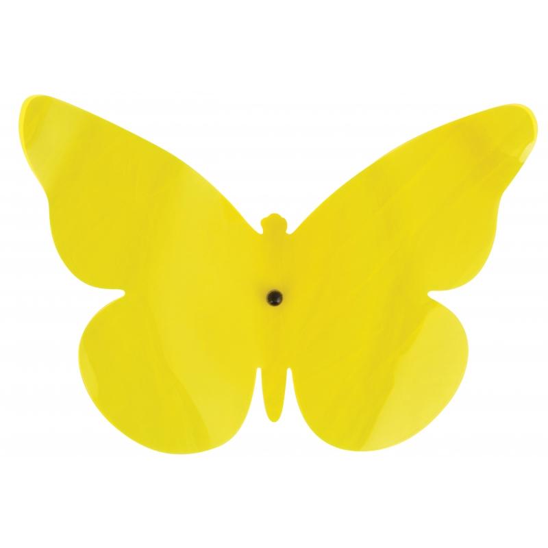 Tuindecoratie vlinder voor aan de muur geel 25 cm