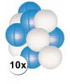 Blauw en wit lampionnen pakket 10x