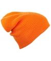 Lange beanie muts oranje