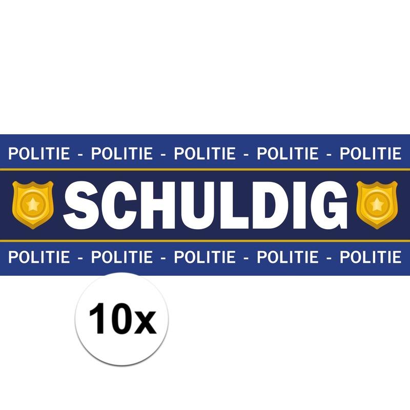 10 x Verkleed schuldig sticker politie boeven outfit