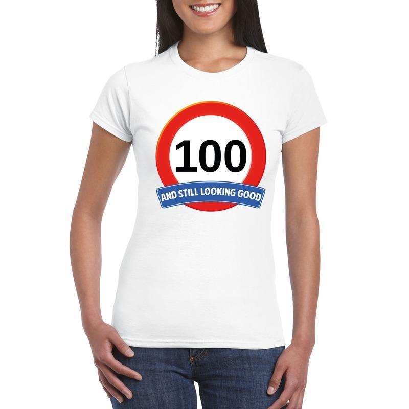 Afbeelding van 100 jaar verkeersbord t-shirt wit dames