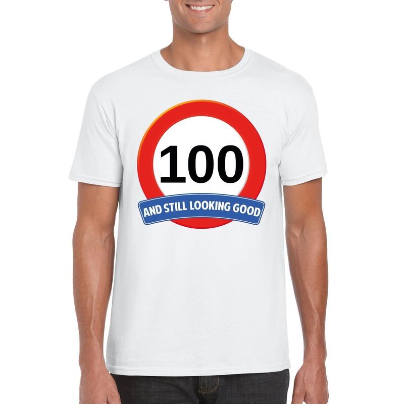 Afbeelding van 100 jaar verkeersbord t-shirt wit heren