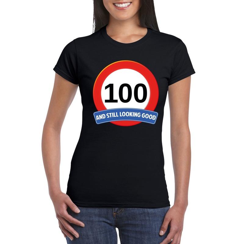 Afbeelding van 100 jaar verkeersbord t-shirt zwart dames