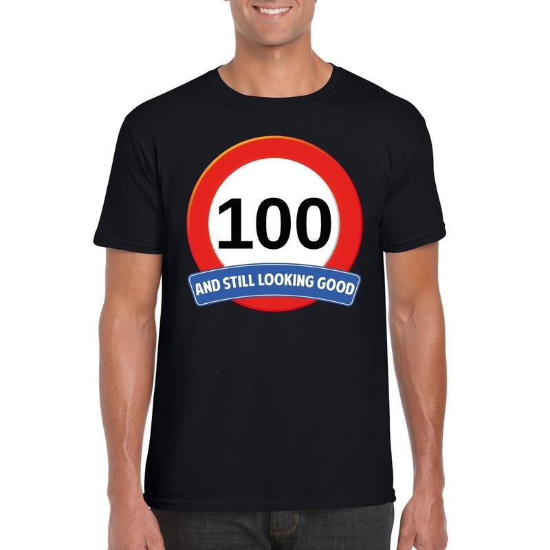Afbeelding van 100 jaar verkeersbord t-shirt zwart heren