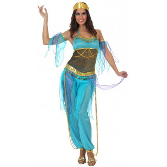 Afbeelding van 1001 nacht dames kostuum blauw
