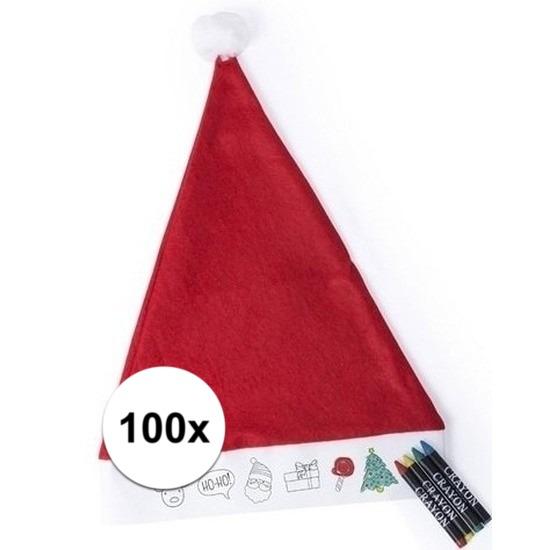 Afbeelding van 100x Hobby Kerstmutsen inkleurbaar met waskrijtjes voor jongens/meisjes/kinderen