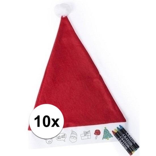 Afbeelding van 10x Hobby Kerstmutsen inkleurbaar met waskrijtjes voor jongens/meisjes/kinderen