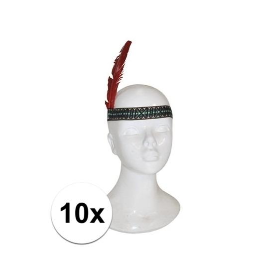 Afbeelding van 10x Indianen hoofdband met veer kinderen
