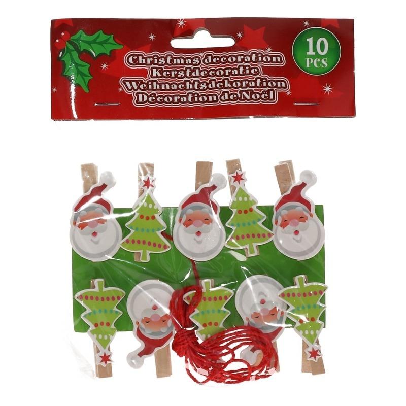 10x Kerstkaart knijpers Kerstman-kerstboom met ophangkoord