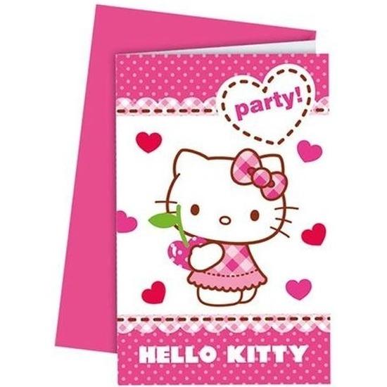 12x Hello Kitty feest uitnodigingen 14 cm