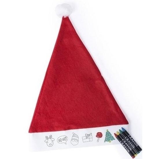 Afbeelding van 12x Hobby Kerstmutsen inkleurbaar met waskrijtjes voor jongens/meisjes/kinderen