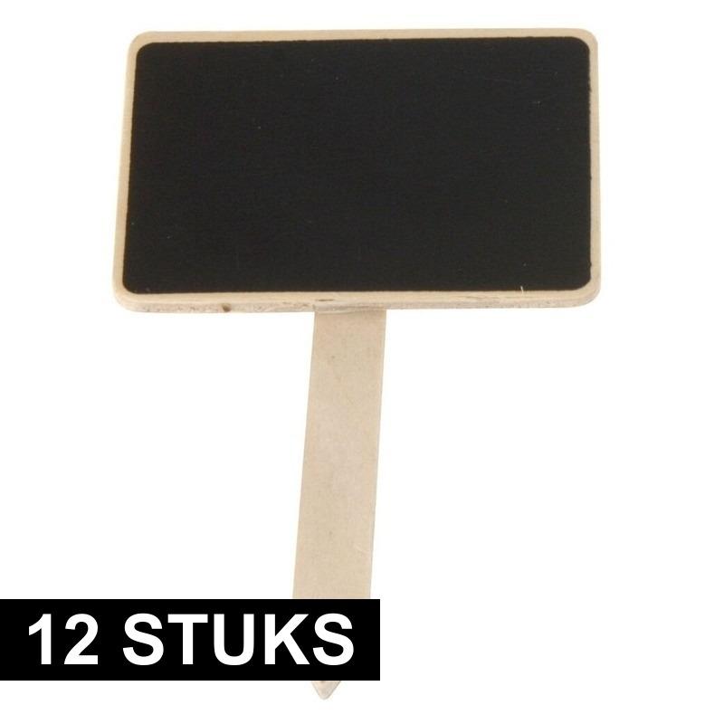 12x Moestuin schrijfbordjes op stokje 12 cm