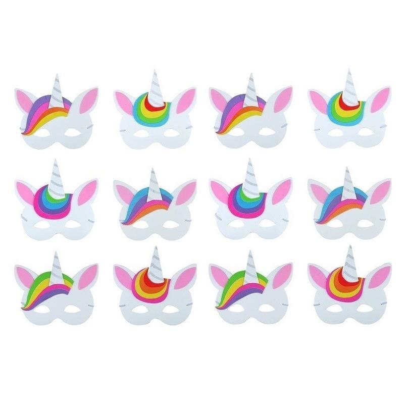 Afbeelding van 12x Verkleed/feest eenhoorn maskers foam voor jongens/meisjes/kinderen