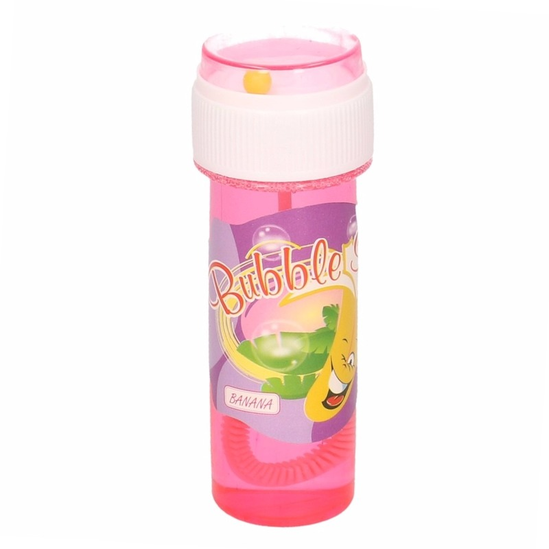 1x Kinder bellenblaas met bananengeur 60 ml gekleurd flesje