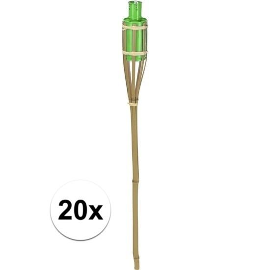 20x Tuin decoratie fakkel bamboe met groene tank 65 cm