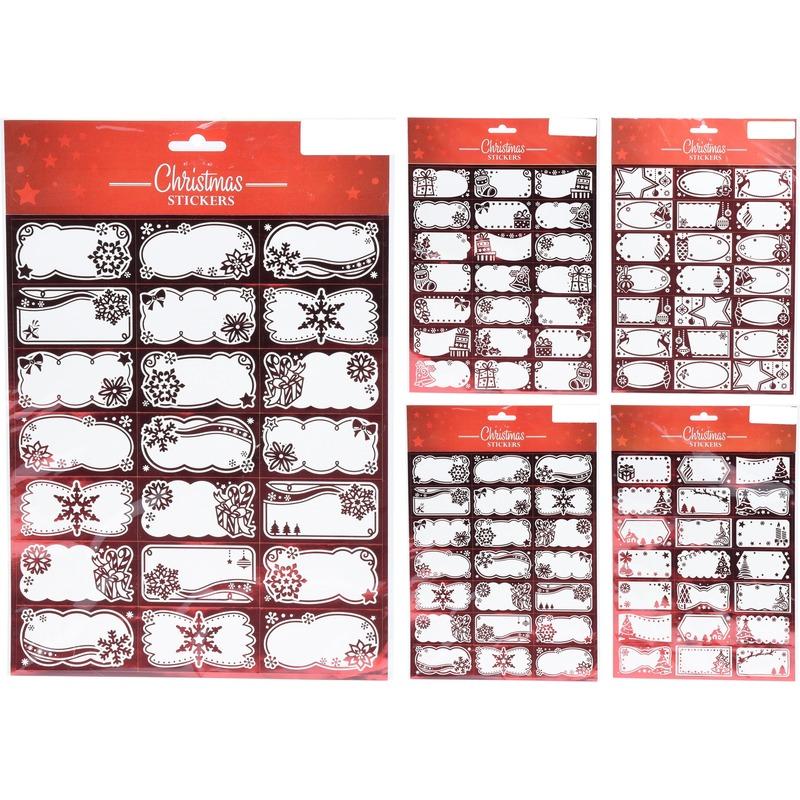 210x Kerstcadeautjes naamstickers-naam etiketten rood