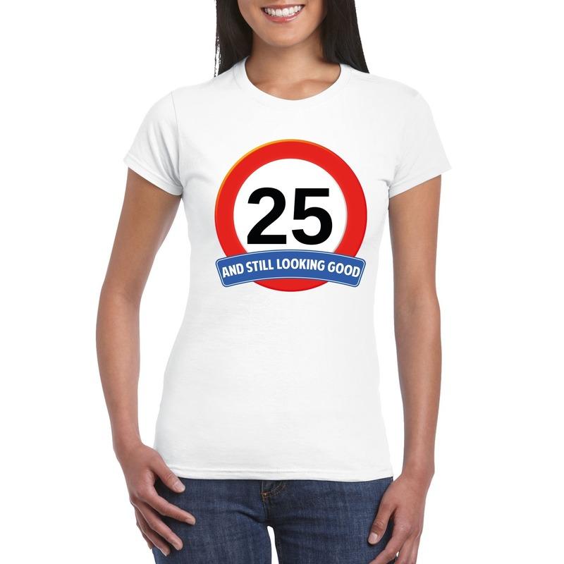 Afbeelding van 25 jaar verkeersbord t-shirt wit dames