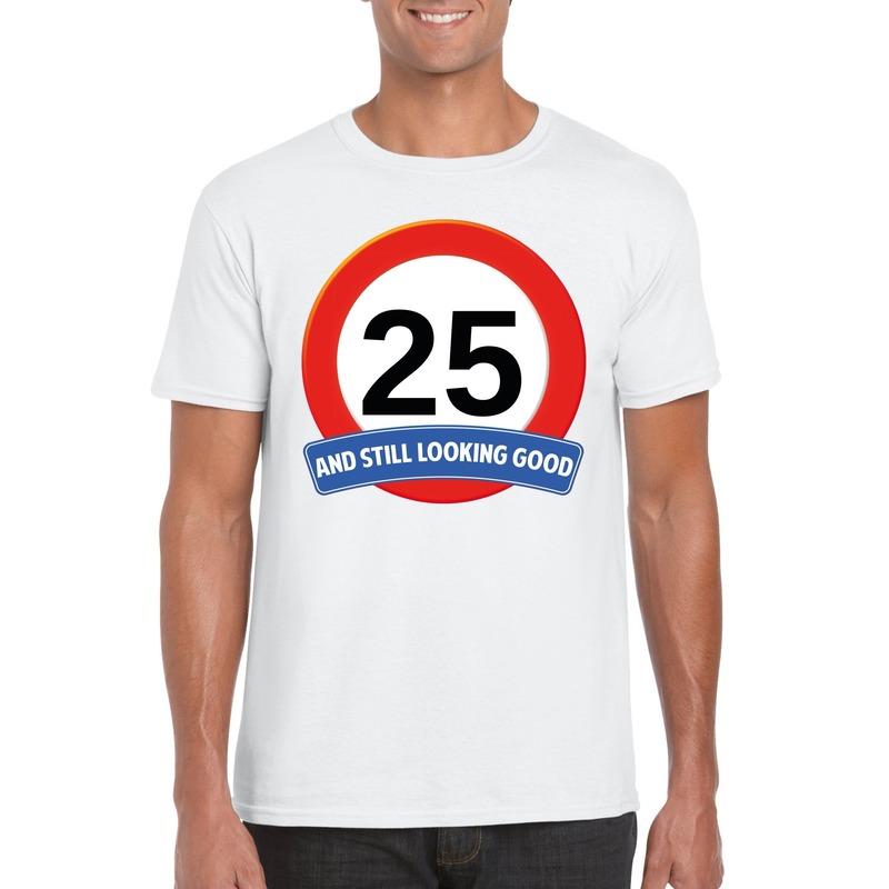Afbeelding van 25 jaar verkeersbord t-shirt wit heren