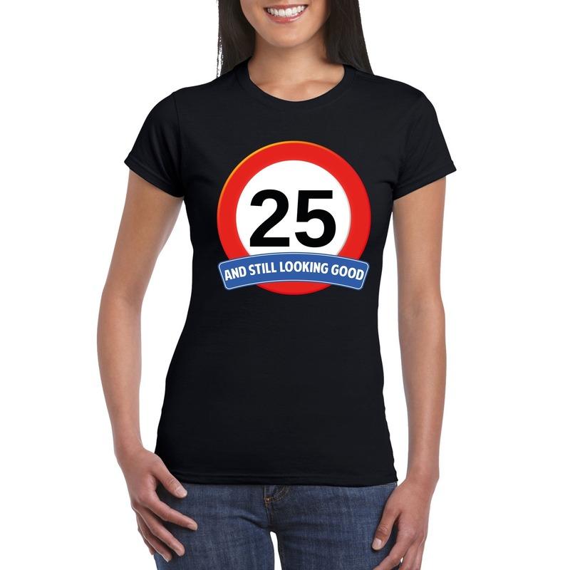 Afbeelding van 25 jaar verkeersbord t-shirt zwart dames