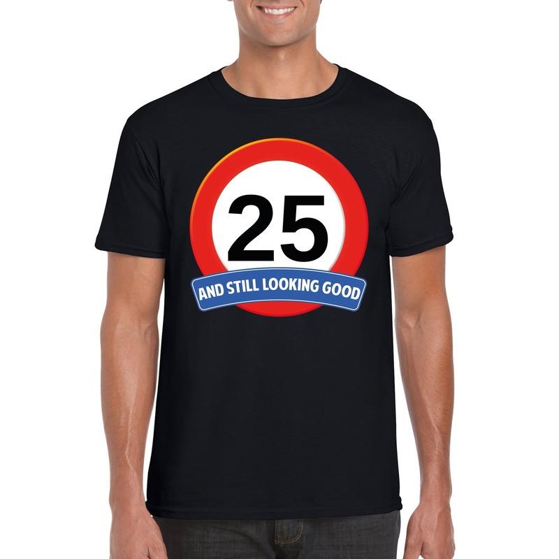 Afbeelding van 25 jaar verkeersbord t-shirt zwart heren