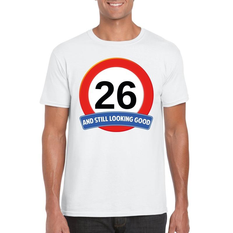 Afbeelding van 26 jaar verkeersbord t-shirt wit heren