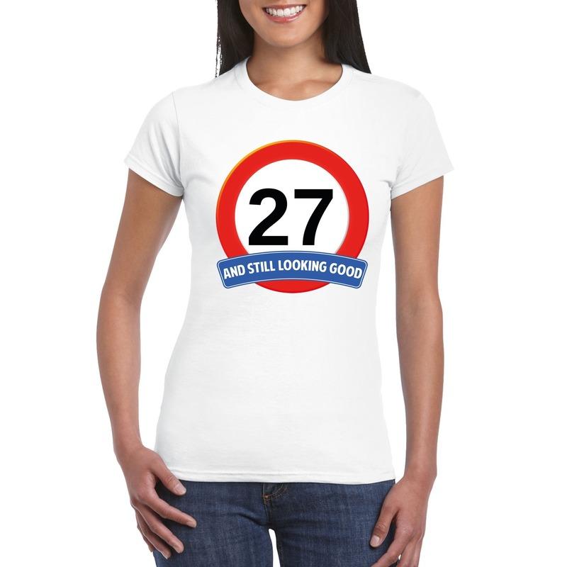 Afbeelding van 27 jaar verkeersbord t-shirt wit dames