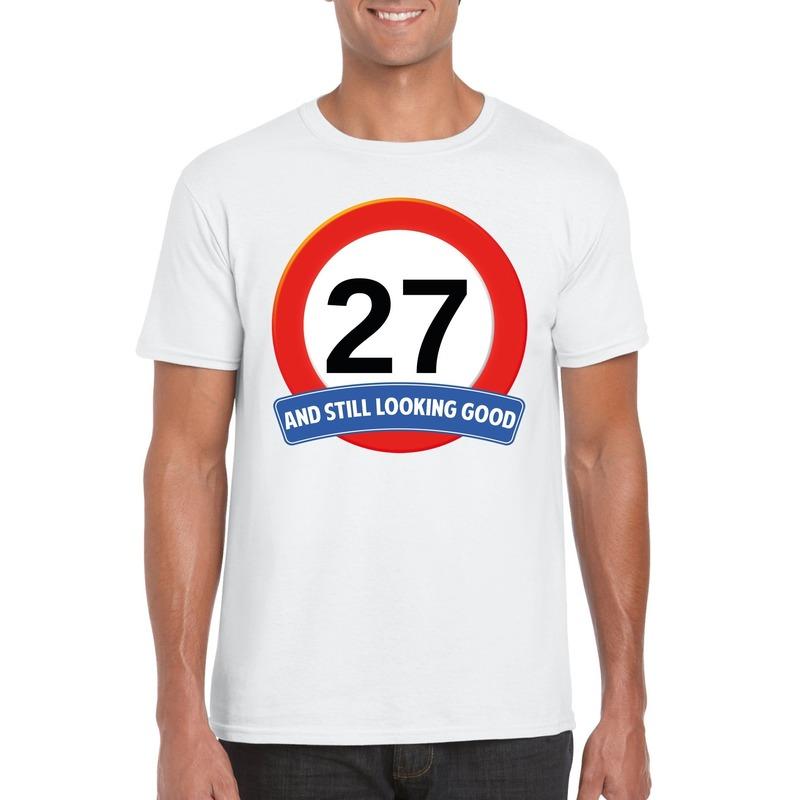 Afbeelding van 27 jaar verkeersbord t-shirt wit heren