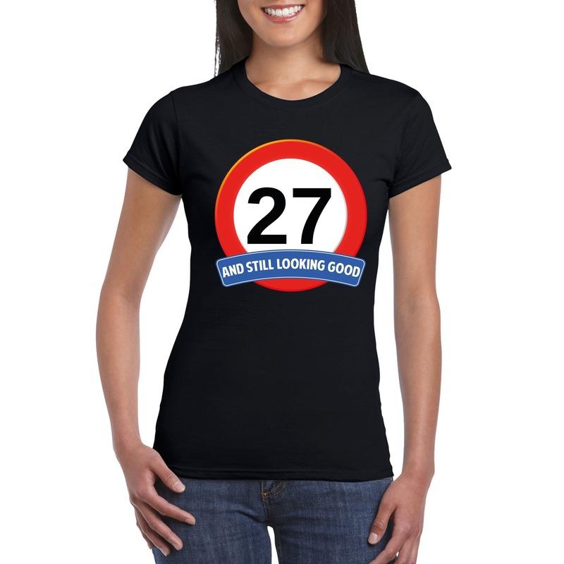 Afbeelding van 27 jaar verkeersbord t-shirt zwart dames